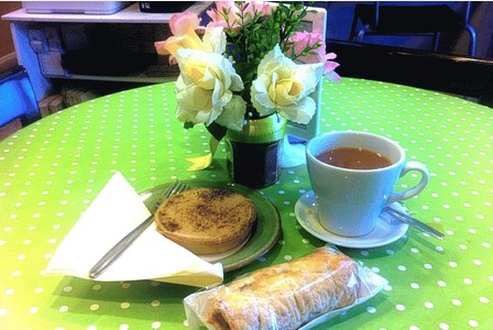 Sausage Roll, Custard Tart and Tea