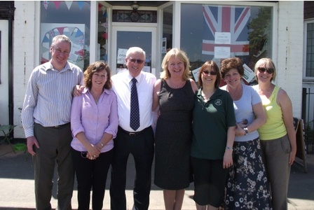 Celebrations after Surrey County Council provided the grant for the extension, with Helen Melia, Christine Nolan, David Hodge, Leader of Surrey County Council and Helyn Clack, County Councillor