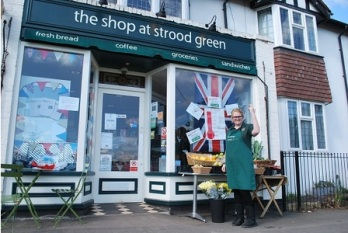 Outside the shop, decorated for Queen's Diamond Jubilee